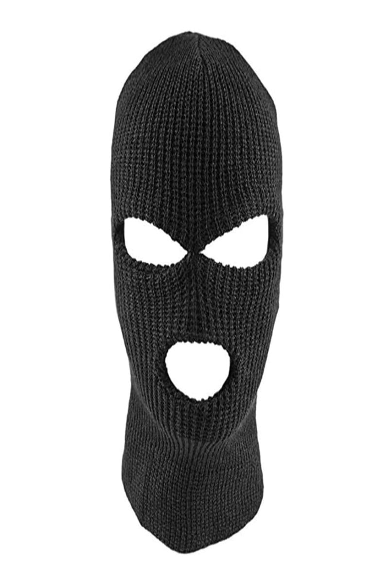 Warm Full Face Knitted Full Face Mask With 3 Holes Winter Warm Knit Mask Elastic Ski